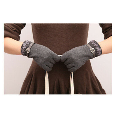 Fashion Cute  One Pair Women Touch Screen Lace Cotton Winter Warm Gloves