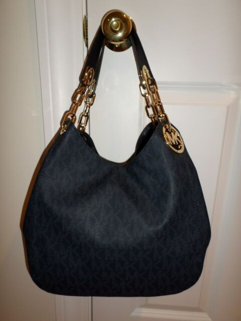Nwt Michael Kors Fulton Large Shoulder Tote Bag Mk Sig Logo Pvc Baltic Blue