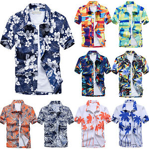 Men-Floral-Short-Sleeve-Blouse-Shirts-Summer-Beach-Holiday-Hawaiian-T-Shirt-Tops