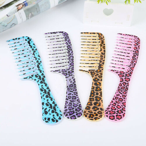 Comb Leopard Anti-static Handle Wide Tooth Hair Comb Salon Styling Tools