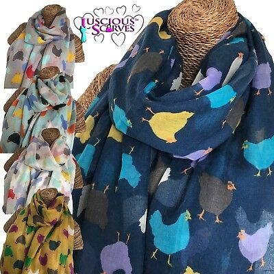LADIES SCARF WITH HENS CHICKEN  DESIGN SUPERB SOFT QUALITY 3 NEW COLOURS