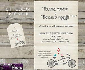 Partecipazioni Matrimonio Bicicletta.Partecipazioni Personalizzate Matrimonio Inviti Nozze Sposa