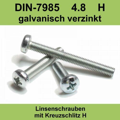 M 5 DIN 7985 4.8 verzinkte Linsenkopfschrauben Kreuzschlitz Linsenschrauben M5x