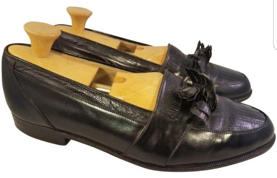 Zapatos de hombre 10.5 W de la Iglesia Flecos Borlas Mocasines De Cuero Genuino Lagarto Negro