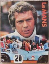 Le Mans gulf oil poster c/u image of race car driver Steve McQueen! porsche 917