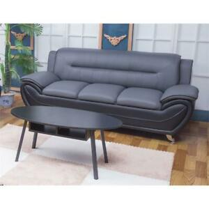 Details about Kingway Furniture Montac Faux Leather Living Room Sofa -  Black/Gray