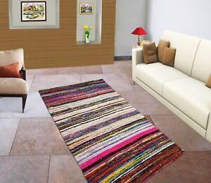 "Indian Cotton Vintage Handmade Woven Rug Dari Chindi Mat Area Runner 3X5/"" Feet"