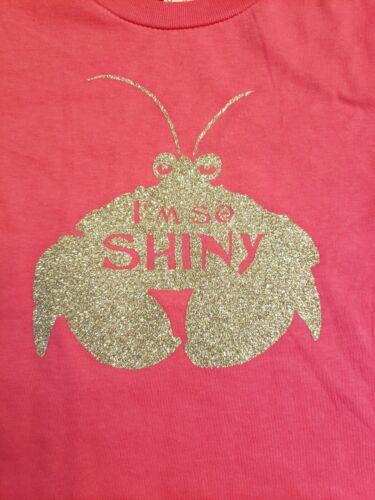 Disney Themed Moana I/'m So Shiny Tamatoa Crab Youth Kids T-Shirt Glitter Pink