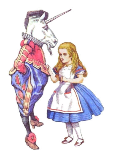 Alice in wonderland unicorn cross stitch chart also available as A4 glossy print
