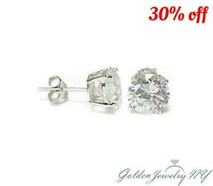 bcf558865 14K Solid White Gold Round CZ Stud Earrings Basket Setting sizes2 ...