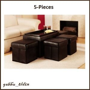 Storage Bench With Side Ottomans Set Faux Leather Coffee Table Stool Seat Brown Ebay