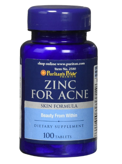 Puritan's Pride Vitamins Zinc for Acne Tablets - 100 Count ...