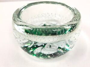 Rare-Joe-St-Clair-Large-Green-Controlled-Bubble-Bowl-Paperweight-Studio-1984