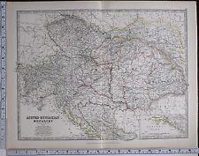 1881 LARGE ANTIQUE MAP AUSTRO-HUNGARIAN MONARCHY TRANSYLVANIA SLAVONIA  TYROL