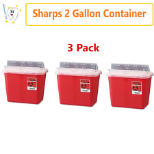 Sharps Container Needle Syringe Disposal Container Red 2 Gallon Slide Lid 3pk