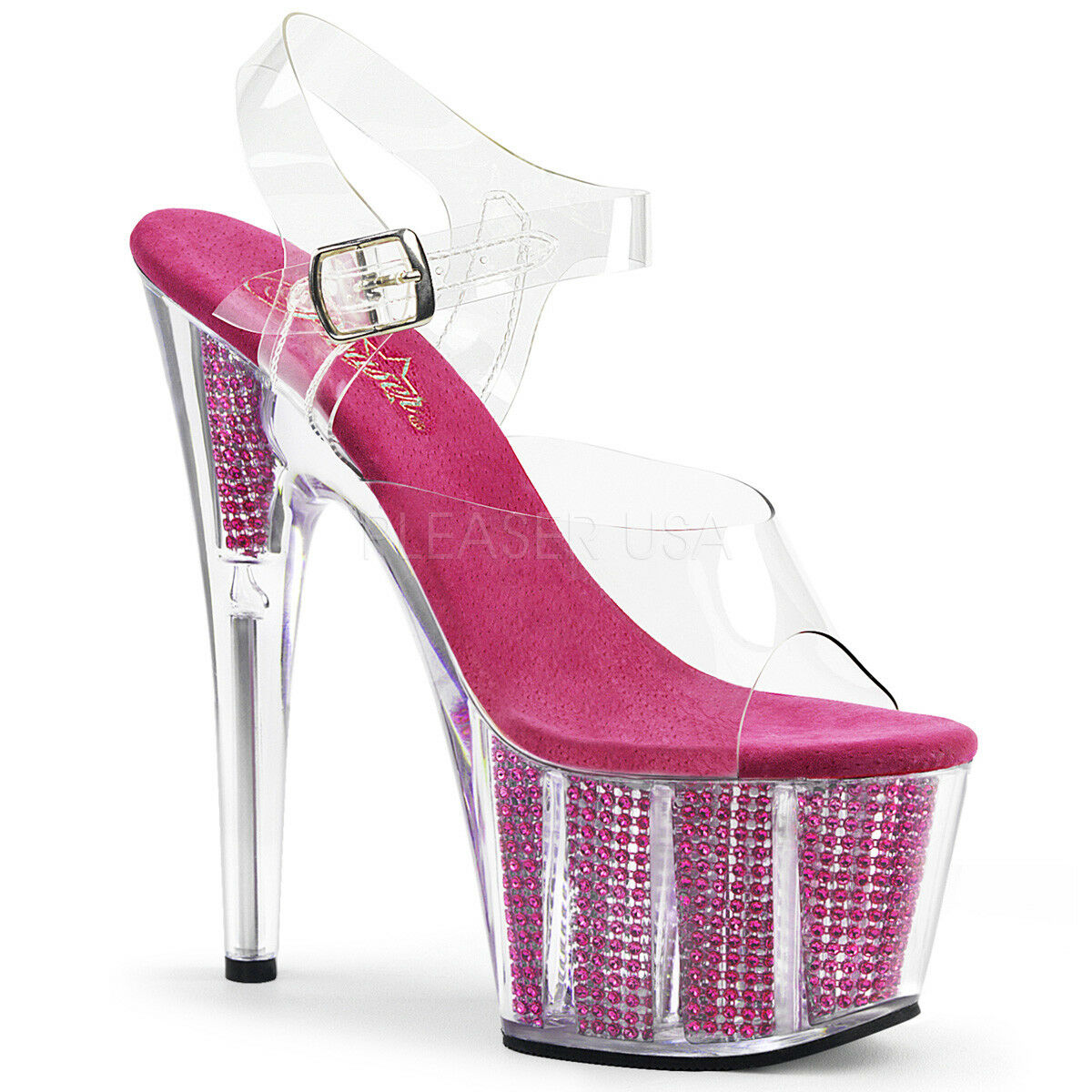 PLEASER ADORE 708SRS FUCHSIA PLATFORM POLE DANCING STILETTO SANDALS