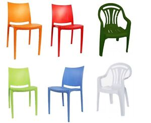 Image Is Loading Plastic Stacking Chairs Patio Garden Outdoor Home Picnic