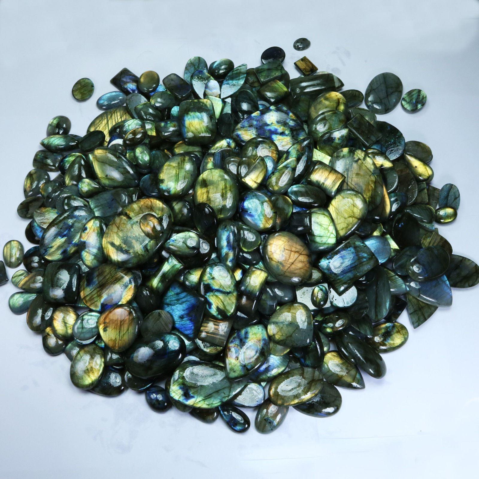 5000Crt. Natural Labradorite Multi Flash Mix Cabochon Loose Gemstone 100Pcs Lot