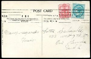 British-New-South-Wales-pour-USA-diffuse-CARTE-POSTALE-1908-VF