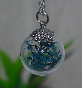 3D-Glaskugel-Anhaenger-Halskette-Glas-Kette-getrocknete-Blueten-Blumen-petrol