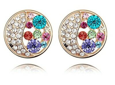 Austrian Crystal Gold with Blue, Pink, Purple Crystals Round Studs Earrings E394