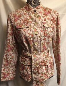 CHARTER-CLUB-Paisley-Stretch-Shirt-Jacket-With-Belt-Size-Medium