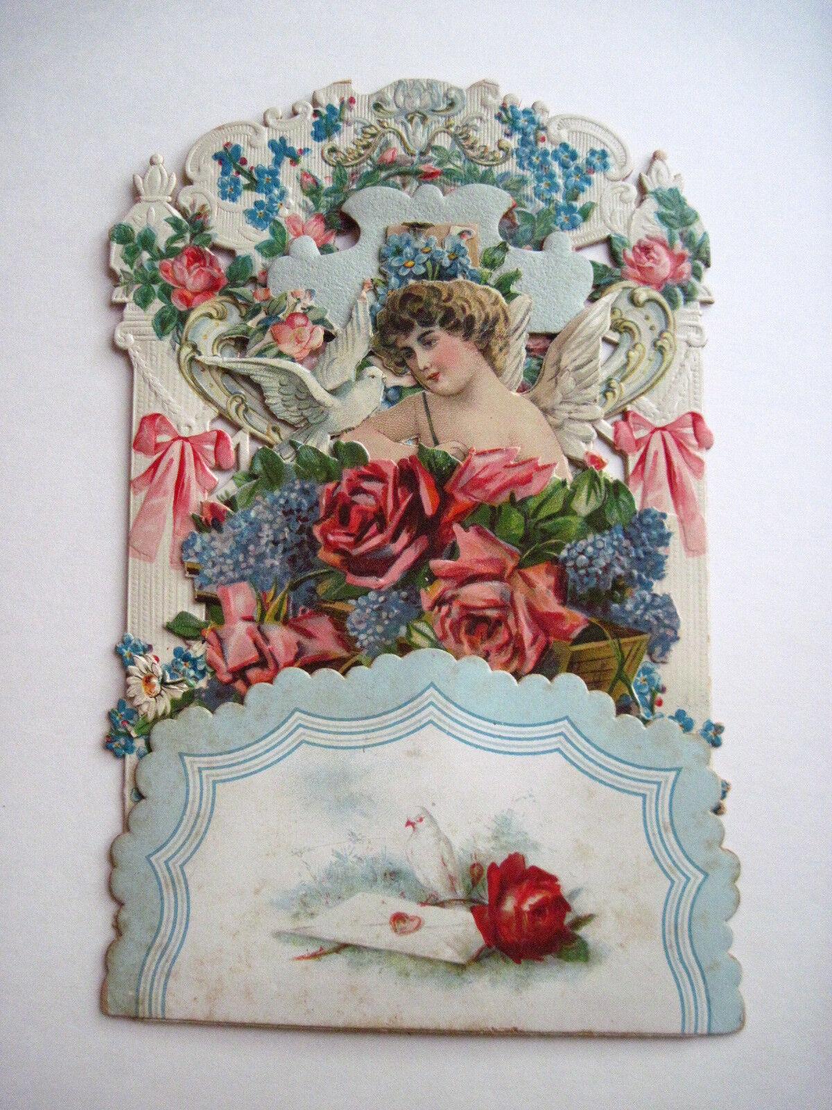 Rare Grand Vintage Antique Victorian Pull Down découpées Valentine avec nid d'abeille