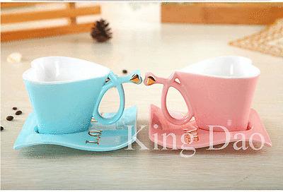 Graceful Heart Shape Porcelain Love Couple Cup Saucer Spoon Coffee Tea Set Gift