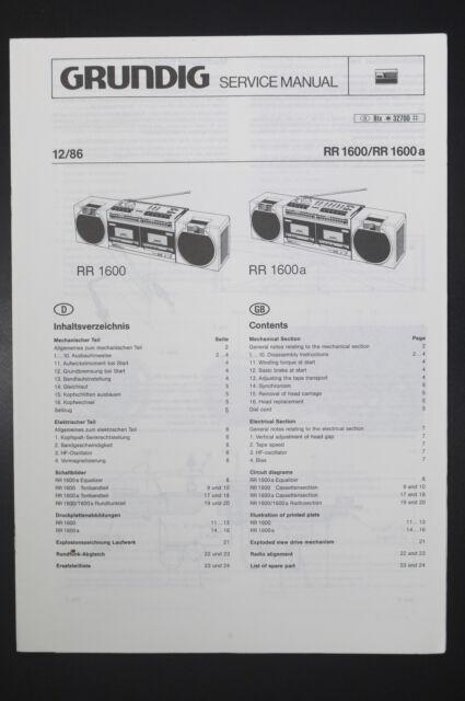 Grundig Rr 1600 Rr 1600 A Original Service Manual  Diagram