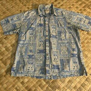 COOKE-STREET-BLUE-COTTON-TIKI-TAPA-PRINT-HAWAIIAN-ALOHA-SHIRT-SIZE-XL-X-LARGE