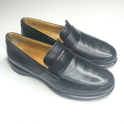 hermes size 44 usa 10 black penny loafer soft leather