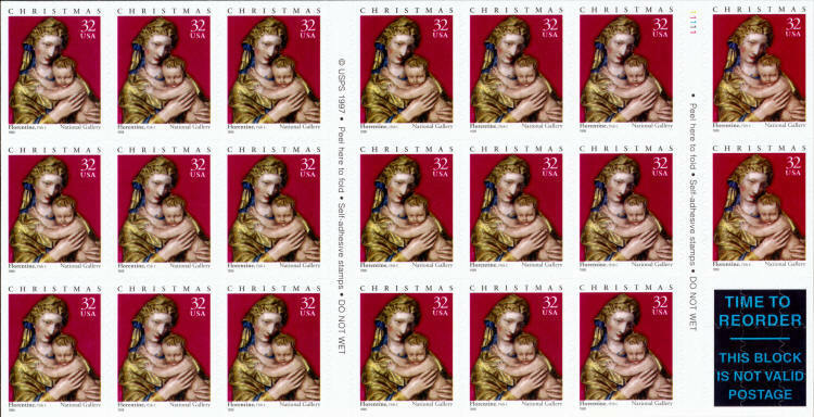 1998 32c Florence Madonna & Child, Christmas, Booklet o