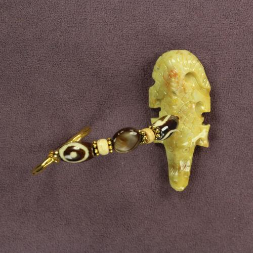 3D CROCODILE KEY CHAIN Ring Totem Soapstone Alligator Shell Buffalo Bone Gold