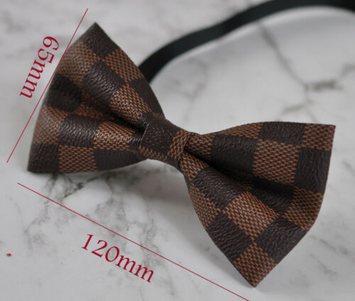 New Men Coffee PVC Fashion Grids Pattern Shining Leather Bow Tie Wedding Party