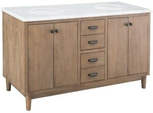 Details About Home Decorators Collection 61 In X 22 In Double Bath Vanity Weathered Grey Oak