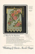 1925 Whiting & Davis MESH BAG Full Pg COLOR AD +  CADILLAC Ad Frank QUAIL Art