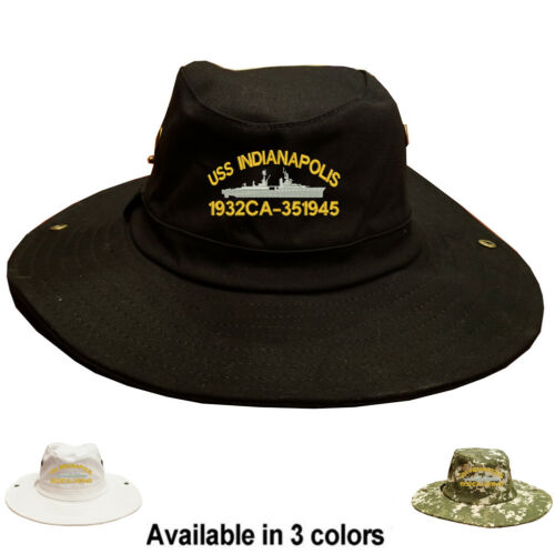 100/% Cotton Boonie Bush Hiking Outdoor Hat USS INDIANAPOLIS 1932 CA-35 1945 SHIP