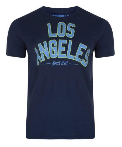 New Men/'s Conspiracy Print Cotton T-shirt Top Los Angeles LA Blue Sky Navy