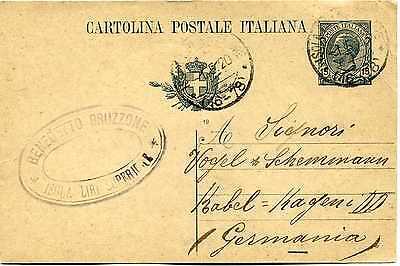 Ga Ganzsache Italien 15 Centesimi 1920 Isola Superiore Nach Kabel Hagen G038