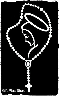 White Rosary MARY Religious Spiritual Decal Car Sticker - Perfect For Your Car