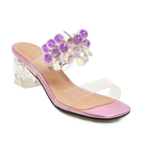 Vogue Femme Bout Ouvert Cristal Transparent Slipper Chaussures Mi Block Talons creux Sandales