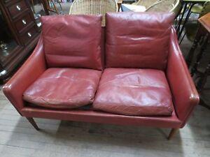 Mid Century Danish Modern Sofa Two Seat Red