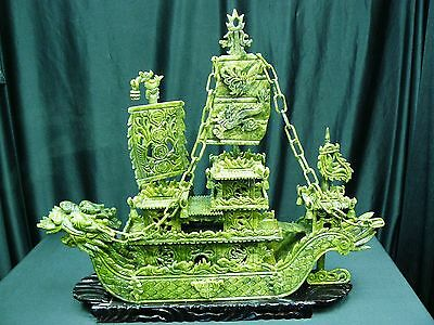 "FACTORY SALE: REAL 24"" GREEN JADE DRAGON BOAT (BJ60D) - HIGH QUALITY"
