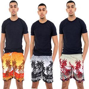 Mens-Hawaiian-Nadar-Pantalones-Cortos-Natacion-Playa-Palmera-Vacaciones-Deportes-troncos-de-malla
