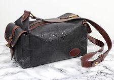 MULBERRY Dark Grey Scotchgrain & Brown Leather Barrel Satchel Shoulder Bag