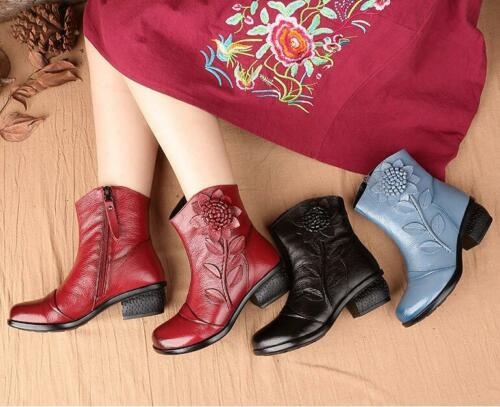 CHIC Women Zipper Winter Retro Pearls Leather Boots Ankle Low Heel Floral Shoes