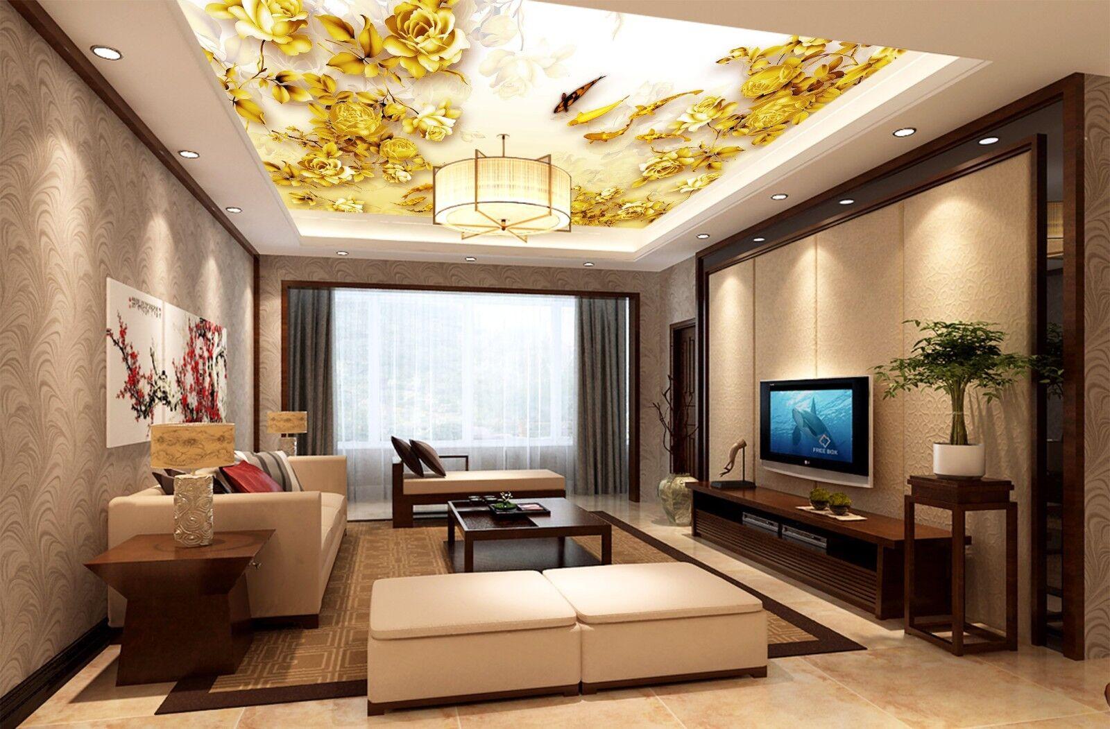 3D gold Peony Fish 42 Ceiling Wall Paper Print Wall Indoor Wall Murals CA Jenny