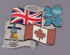 2010 2012 Olympic Bridge Pin London Vancouver Canada Great Britain Flag