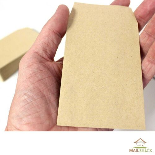 Small Brown Manilla Envelopes 98 x 67mm For Dinner Money Wages Coin Beads Seeds