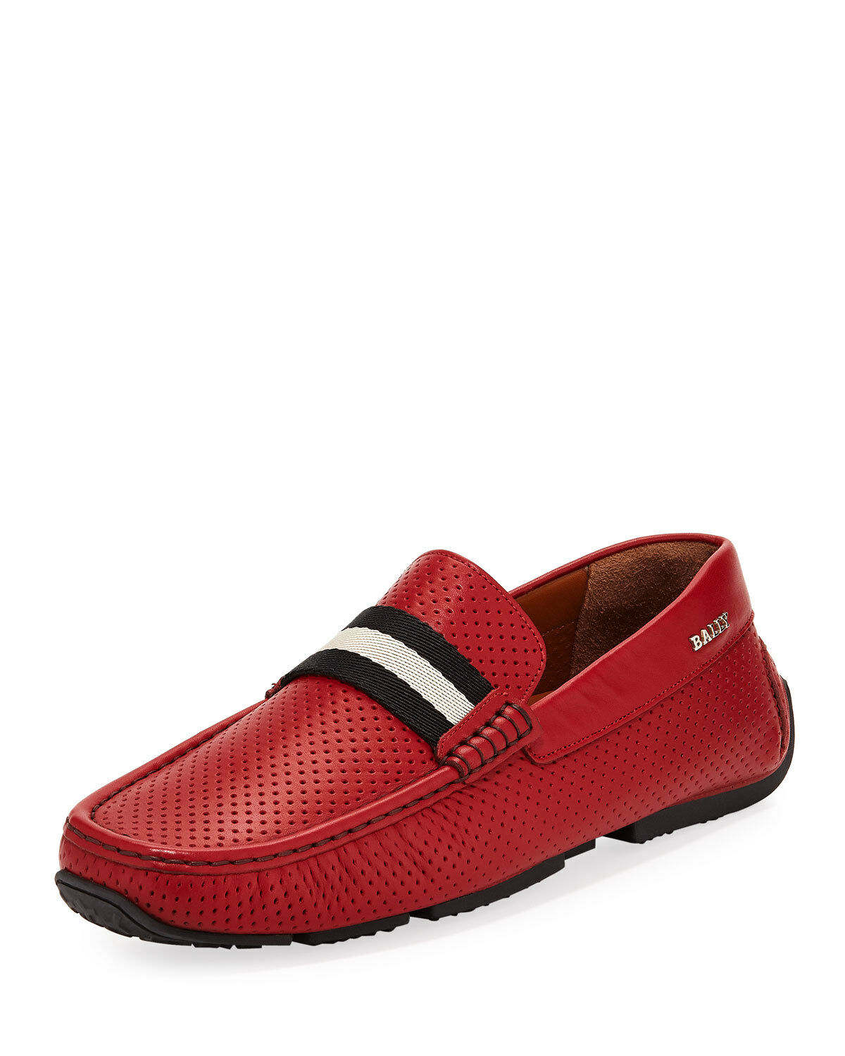 BALLY PEARCE RED PERFORATED LEATHER WEB LOGO DRIVE LOAFERS 9 US 42 ITALY